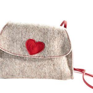 Trachtentasche - grau mit rotem Herzen