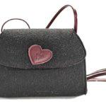Trachtentasche - schwarz mit rosanem Herzen